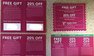 Lot Of 4 bath and body works coupon 20% Off Pay Nothing For Gift $2.95 Soap
