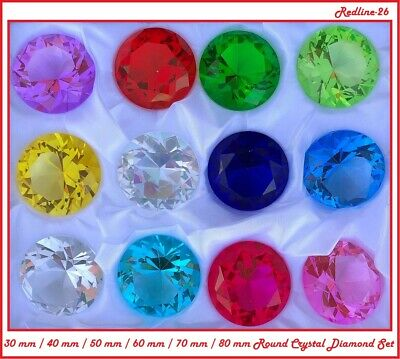 Fancy Round Cut Crystal Glass Diamond Paperweight Box Set 12 PCS (30 - 80 mm)