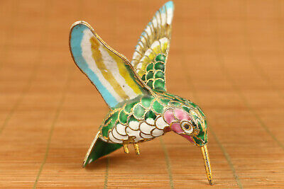 chinese old cloisonne hand carved hummingbird statue collectable