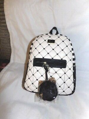 306a4fe68d BETSEY JOHNSON BLACK and white striped quilted floral backpack ...
