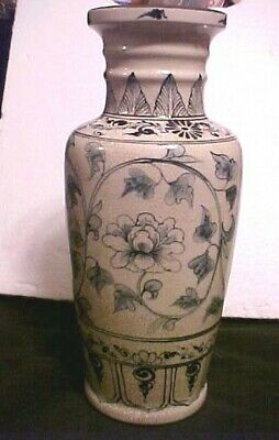 Old Oriental Vase, I Think Chinese, Repair On Lip  13 1/2 Inches Tall Nice Piece