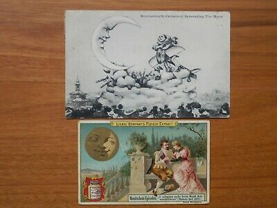 2 X 1910's  Man In The Moon Post Card And Trade Card