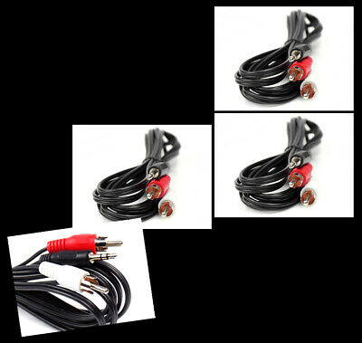 3X 10Ft 3.5Mm Aux Rca Male Plug Audio Stereo Jack Black Cable Galaxy Note Nexus