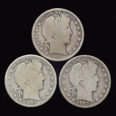 3 Different Barber Half Dollars (11-411*)  FREE SHIPPING