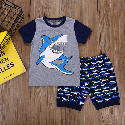 d871cafad41b39 Toddler Kids Baby Boy Tops + Pants Shark Pajamas Set Sleepwear Nightwear  Clothes