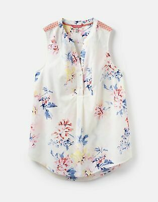 Joules 204546 Sleeveless Pop Over Top in Cream WHITSTABLE FLORAL