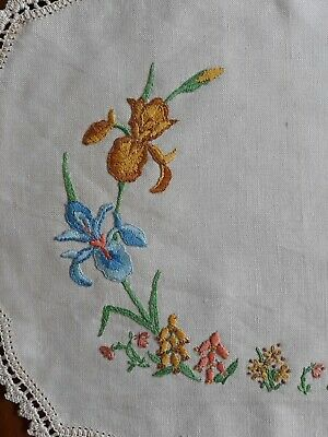 Vintage Embroidered Doilie Centre Piece with irises & flowers 38.5cm