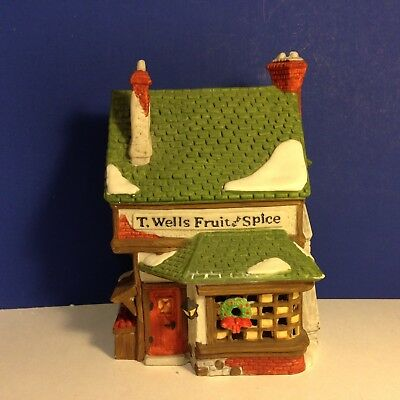 Dept 56 Dickens Village T. WELLS FRUIT AND SPICE SHOP w/ box Combine Shipping!
