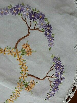 Vintage Embroidered Doilie Centre Piece with  flowers trees 42.5cm