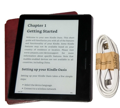 """Amazon Kindle Oasis WiFi 4GB 6"""" (8th Generation), W/Charging Case Mint"""