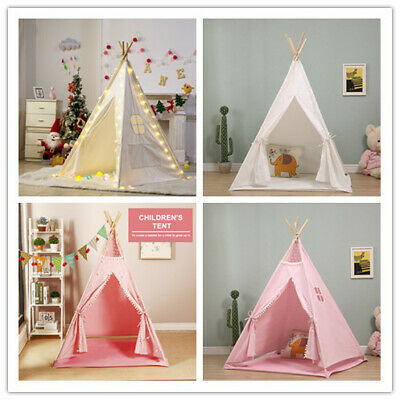 Large Kids Teepee Tent Childrens Wigwam Indoor Outdoor Play House Cotton Canvas