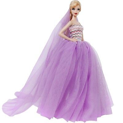 Purple Wedding Dress Veil Accessory Clothes For 12 in. Girl Doll Ball Gown Gift