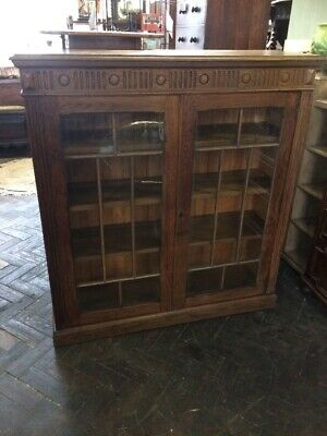 Attractive Small Antique Edwardian  Glazed Door Oak Bookcase Cabinet