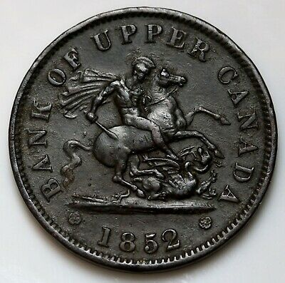 1852 Bank of Upper Canada Penny Token George & The Dragon Coin