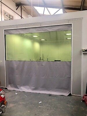 Grey / Clear Heavy Duty Industrial Made To Mesure Workshop Curtain 10 Ft X 9 Ft