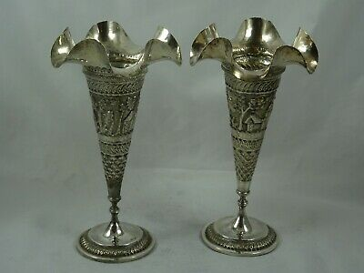 ATTRACTIVE pair INDIAN silver FLOWER VASES, c1900, 486gm