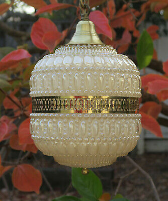 Vintage ceiling Lamp bubble glass brass chandelier beaded Retro Mid Century