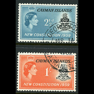 CAYMAN ISLANDS 1959 New Constitution. SG 163-164. Fine Used. (W0765)