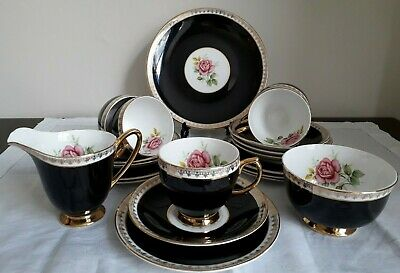 VINTAGE WINDSOR BLACK ROSE & GILT TEASET 20 PIECE BONE CHINA MADE in ENGLAND