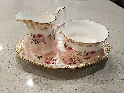 Royal Albert Bridesmaid Creamer and Sugar set WITH TRAY