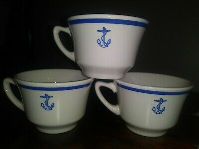 Homer Lauglin US Navy Naval Blue Anchor Coffee Cups set of 3