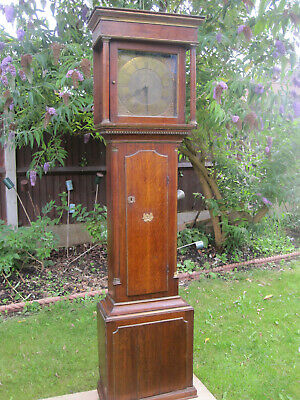 Antique c1750 Brass 8 Day Oak Longcase Grandfather Clock by Fletcher of Barnsley