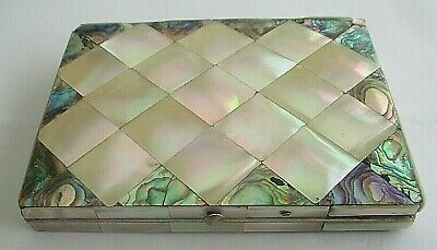 Antique 19Th Century Mother Of Pearl & Abalone Card Case