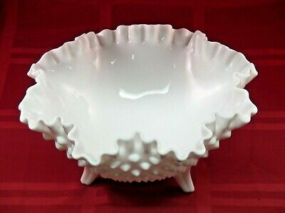 Vintage Fenton Milk Glass Hobnail Bowl Candy Dish 3 Footed Ruffle Edge