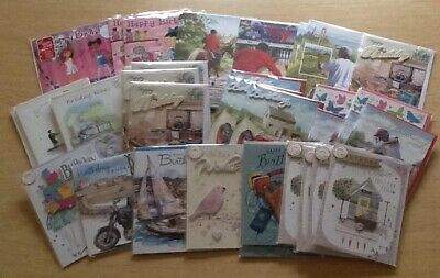 Bargain Lot: 39 Assorted Birthday Cards - Top Quality - Ex-Shop - Film Wrapped.