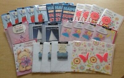 Bargain Lot: 26 Assorted Birthday Cards - Ex-Shop Stock - All Film Wrapped.