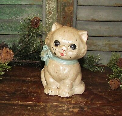 Antique Vtg Dime Store Cast Iron Hubley Kitten Toy Cat Blue Bow Still Penny Bank