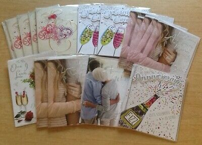 Bargain Lot: 18 Assorted Top Quality Anniversary Greeting Cards - Ex-Shop Stock.