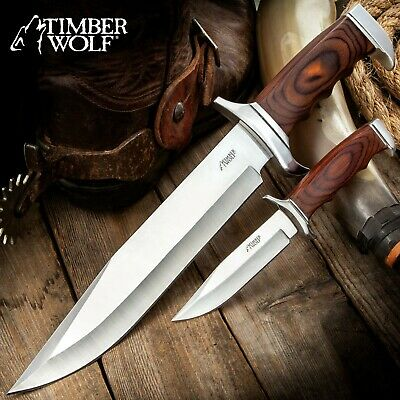 "Timber Wolf Chrome Duo Hunter Bowie 2 Pc Knife Set 961 Pakkawood 14 1/2"" 7 3/4"""