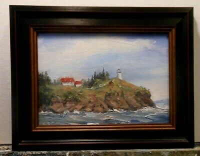 Maine Lighthouse, Owls Head, 5x7 framed original oil painting by Celene Farris