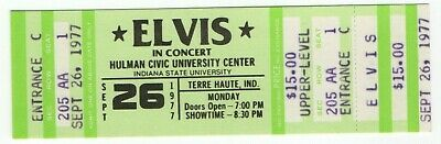 Original 1977 Elvis Presley The King Unused Terre Haute In Concert Ticket Upper