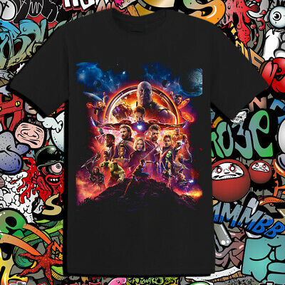 The Avengers Infinity War Poster Epic Marvel Movie End Game T-Shirt Black T14