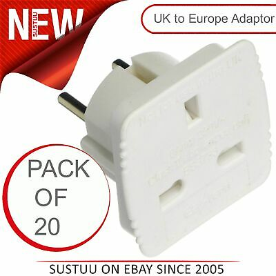 20 X Value Range 6 Amp 250v UK a Europeo Schuko Enchufe Adaptador de Viaje (