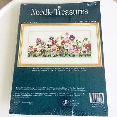 Pansy Parade Embroidery Kit Needle Treasures 18 x 8 Floral Crewel NIP Unopened