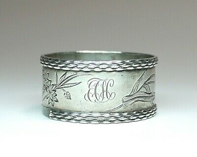 Antique? Sterling Silver Napkin Ring Engraved Floral Monogrammed 37 Grams AS IS