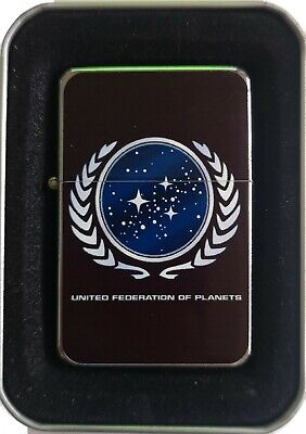 Star Trek United Federation Of Planets Flip Lighter Presentation Tin & Sleeve