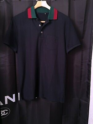 41d0666f55db Gucci Mens Navy Cotton Polo Shirt Web collar SZ L/Italy/Bonus Gucci Hanger