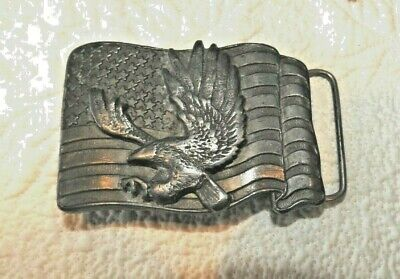 Buckles Of America Eagle American Flag Belt Buckle Pewter Masterpiece Collection