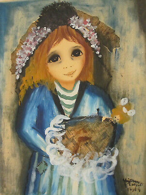 Roger Etienne Decoupage French Big Eyed Girl Original Oil Painting Mid Century
