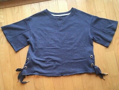 19a9f2ad17d Calvin Klein Performance Womens Short Sleeve Cropped Sweat Shirt Blue Size  Small