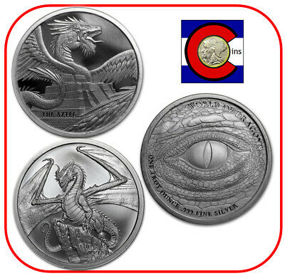 World of Dragons - Two BU Silver Rounds - The Aztec & The Welsh - in Capsules