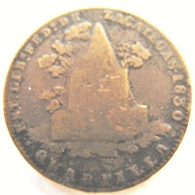 1830  MEXICO, First Republic, 1/4 Real grading About FINE.