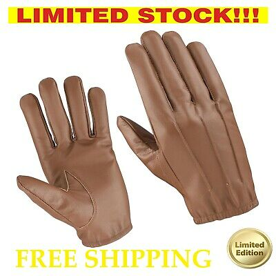 Tactical Driving Police Search Mitten Thin Unlined Genuine Real Leather Gloves
