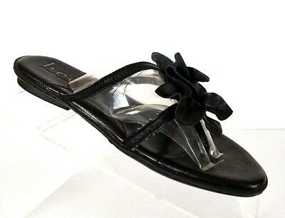 15e77981b25b B.O.C by Born Womens Sandals Shoes Size 6 M Thong Flower Comfort Black  Leather