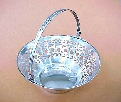 Antique Watson 4688 Reticulated Sterling Silver Basket  with Handle / Excellent