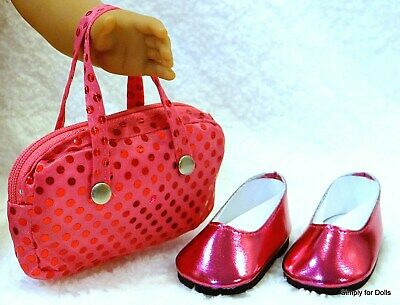 """**SALE** 2pc HOT PINK DOLL SHOES & Sequin PURSE SET fits 18"""" AMERICAN GIRL"""